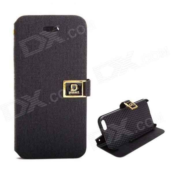 Protective PU Leather Case Cover Stand w/ Dual Card Slot for IPHONE 5 / 5S - Black protective pu case w stand strap for iphone 5 5s black