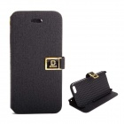 Protective PU Leather Case Cover Stand w/ Dual Card Slot for IPHONE 5 / 5S - Black
