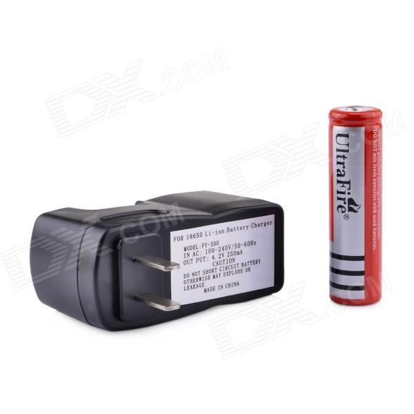 UltraFire ZS-08 18650 3.7V 400mAh Lithium Rechargeable Battery w/ US Plug Charger - Black + Red rustu 168a dual slot lithium battery charger for 18650 black ac 100 240v us plug 65cm cable