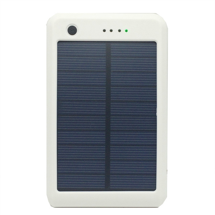 Portable 15000mAh Li-ion Battery Dual-USB Solar Powered Power Bank w/ LED Indicator - White sony cp s15 s 15000 mah
