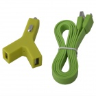 Universal Y-Shape Dual USB Car Power Charger  w/ USB 2.0 to Micro USB Charging Cable - Green(12~24V)