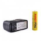 FandyFire ZS-10 18650 3.7V 1300mAh Lithium Rechargeable Battery w/ US Plug Charger - Yellow