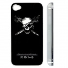 ZH01 Skeleton Pattern LED Flash Light Protective ABS Back Case for IPHONE 4 / 4S -Black (1 x CR2016)