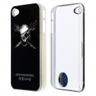 ZH01 scheletro luce modello flash LED ABS protettivo posteriore caso per IPHONE 4 / 4S-Black (1 x CR2016)