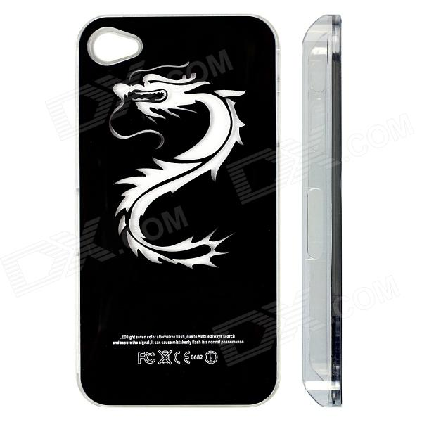 ZH01 Good Luck Dragon Pattern LED Flash Light Color Changing Protective Back Case for IPHONE 4 / 4S zh01 good luck dragon pattern led flash light color changing protective back case for iphone 4 4s