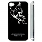 ZH01 Butterfly Pattern LED Flash Light Protective ABS Back Case for IPHONE 4 / 4S - Black