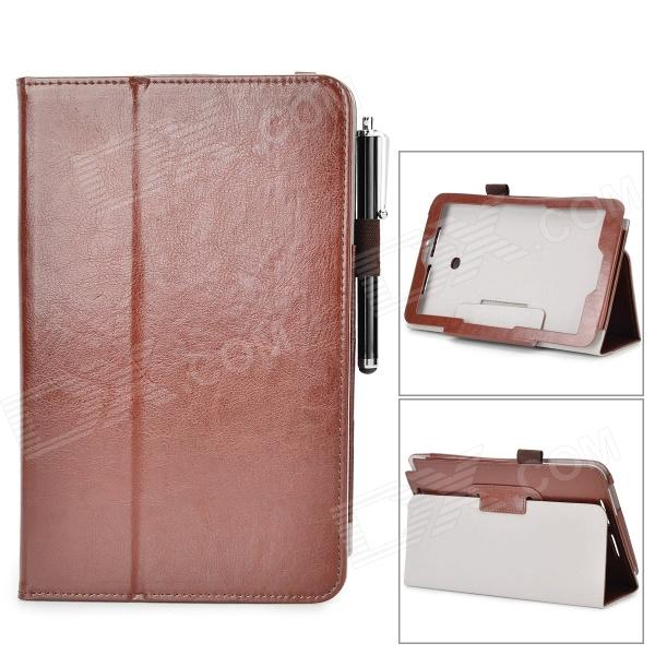 Stylish Flip-open PU Case w/ Holder + Stylus for ASUS VivoTab Note 8 / M80TA - Brown stylish flip open pu case w holder stylus for asus vivotab note 8 m80ta red