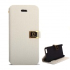 Protective PU Leather Case Cover Stand w/ Dual Card Slot for IPHONE 5 / 5S - White