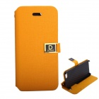 Protective PU Leather Case Cover Stand w/ Dual Card Slot for IPHONE 5 / 5S - Orange