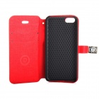 Protective PU Leather Case Cover Stand w/ Dual Card Slot for IPHONE 5 / 5S - Red