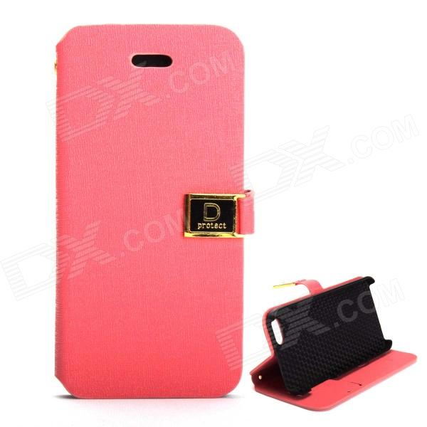 Protective PU Leather Case Cover Stand w/ Dual Card Slot for IPHONE 5 / 5S - Deep Pink stylish protective pu leather case w card holder slot for iphone 5 deep pink
