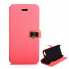 Protective PU Leather Case Cover Stand w/ Dual Card Slot for IPHONE 5 / 5S - Deep Pink