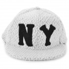 NY Letters Pattern Wool Hat / Cap - White + Black