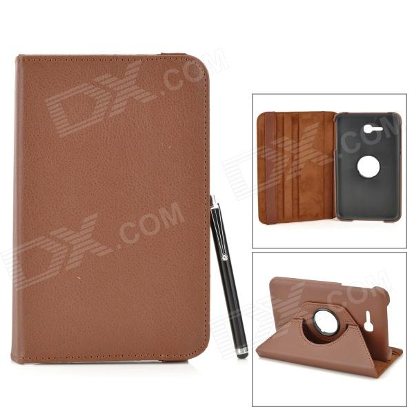 360 Degree Rotary Flip Open PU Case w/ Stand + Stylus for Samsung Galaxy Tab 3 Lite T110 - Brown ikki 360 degree rotating flip open pu case w stand for samsung galaxy tab 3 lite t110 blue