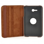 360 Degree Rotary Flip Open PU Case w/ Stand + Stylus for Samsung Galaxy Tab 3 Lite T110 - Brown