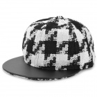 Fashion Check Pattern Warm Wool Baseball Cap - White + Black