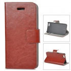 Protective Flip-Open PU Case w/ Stand / Card Slot for IPHONE 5 / 5S - Brown