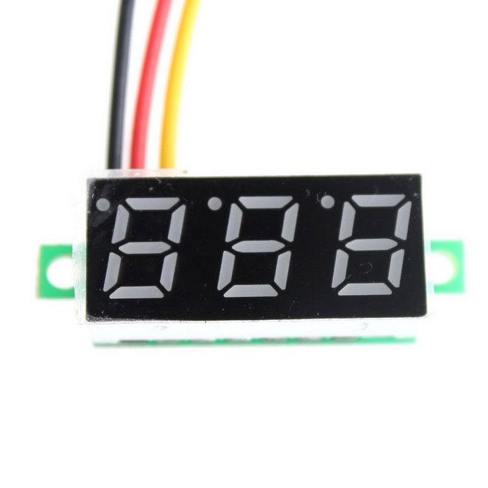 YBTJ04 0.28 3-digit 7-segment Blue Light DC 0~100V Digital Voltmeter Header - Black 0 36 3 digit blue light 7 segment voltmeter module black green 3 2 30v