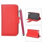 Protective PU Leather Case w/ Card Holder Slots / Stylus Pen for IPHONE 5 / 5S - Red