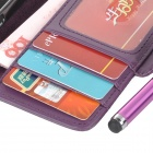 Protective PU Leather Case w/ Card Holder Slots / Stylus Pen for IPHONE 5 / 5S - Purple