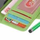 Protective PU Leather Case w/ Card Holder Slots / Stylus Pen for IPHONE 5 / 5S - Green