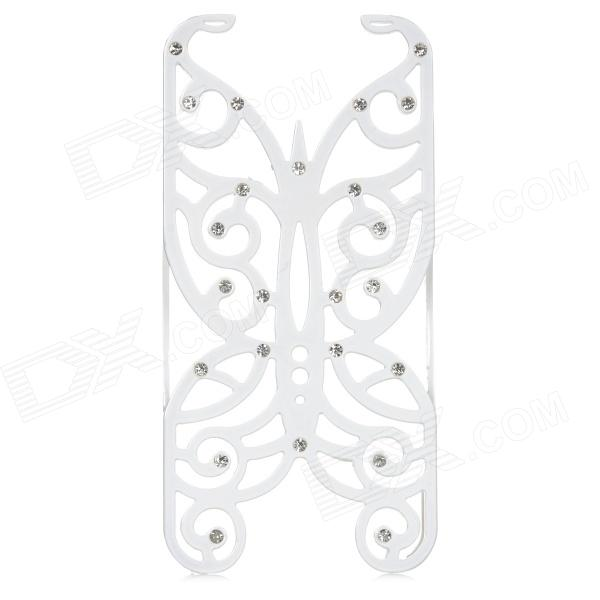 Hollowed Butterfly Style ABS Back Case for IPHONE 5 / 5S - White + Silver butterfly bling diamond case
