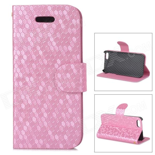 Diamond Pattern Protective PU + Plastic Case w/ Stand for IPHONE 5 / 5S - Pink ipega i5056 waterproof protective case for iphone 5 5s 5c pink
