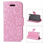 Diamond Pattern Protective PU + Plastic Case w/ Stand for IPHONE 5 / 5S - Pink