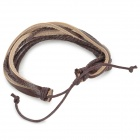 Casual Adjustable Woven Cow Leather + Cord Bracelet - Dark Brown