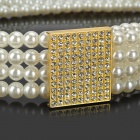 Pearl Style Elastic Waistband w/ Rhinestones Buckle for Women - Beige + Golden
