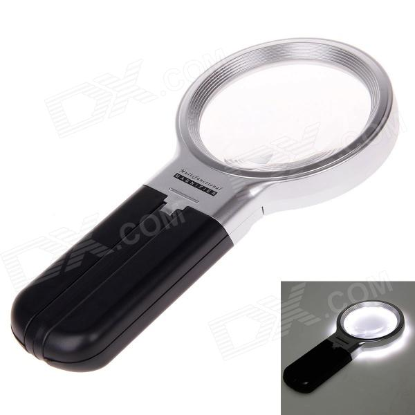 TH-7006B 3X Magnifier w / 10-LED Lights - Black + Silver + Transparent full page magnifying sheet fresnel lens 3x magnification pvc magnifier