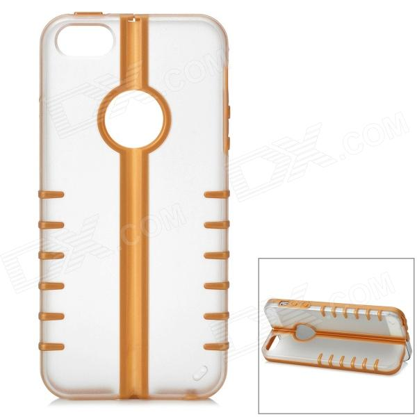 MYCOVER Protective PC + Silicone Case for IPHONE 5 / 5S - Golden + Transparent protective silicone case for iphone 5 transparent grey