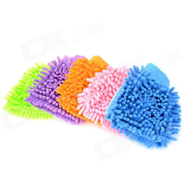 LIT Chenille Fiber Single-side Car Washing Glove - Blue + Pink + Multi-Colored (5 PCS)