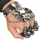 Stylish Skull Style 3-Finger Rings Split Leather + Zinc Alloy Bracelet - Black + Silver