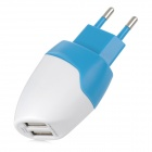 5V 2A Dual USB EU-Plug Charger for IPHONE / IPAD / IPOD - White + Blue (100~240V)