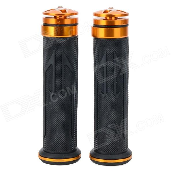 Universal DIY 22mm Aluminum Alloy + PC Motorcycle Handlebar Grips - Golden Yellow + Black (2 PCS) mz short universal aluminum alloy motorcycle handlebar ends caps plugs golden pair