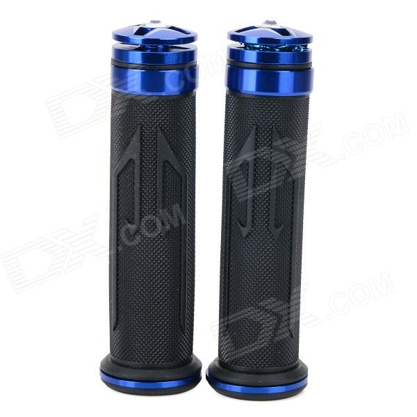 Universal DIY 22mm Aluminum Alloy + PC Motorcycle Handlebar Grips - Blue + Black (2 PCS) mz short universal aluminum alloy motorcycle handlebar ends caps plugs golden pair