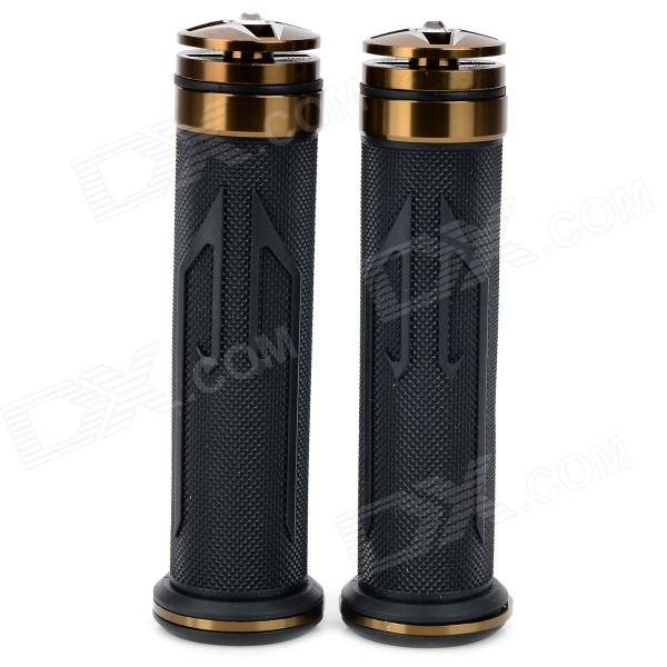 Universal DIY 22mm Aluminum Alloy + PC Motorcycle Handlebar Grips - Coppery + Black (2 PCS) mz short universal aluminum alloy motorcycle handlebar ends caps plugs golden pair