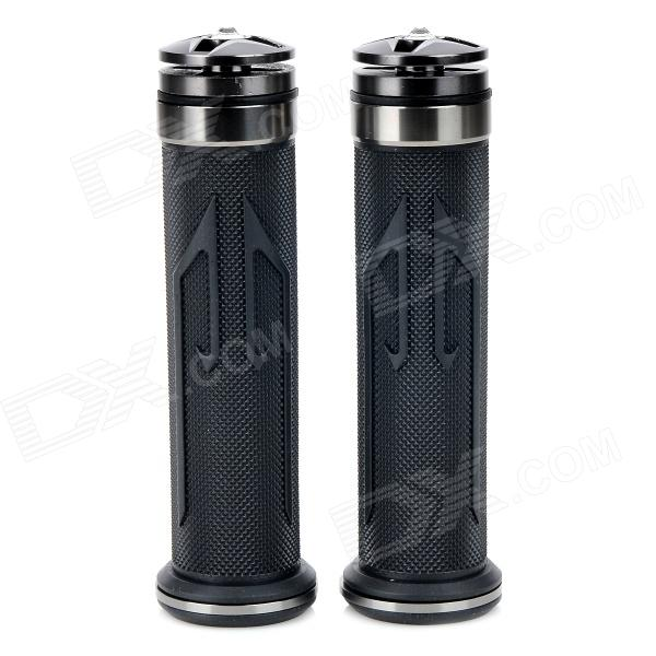 Universal DIY 22mm Aluminum Alloy + PC Motorcycle Handlebar Grips - Dark Grey + Black (2 PCS) mz short universal aluminum alloy motorcycle handlebar ends caps plugs golden pair