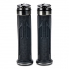 Universal DIY 22mm Aluminum Alloy + PC Motorcycle Handlebar Grips - Dark Grey + Black (2 PCS)