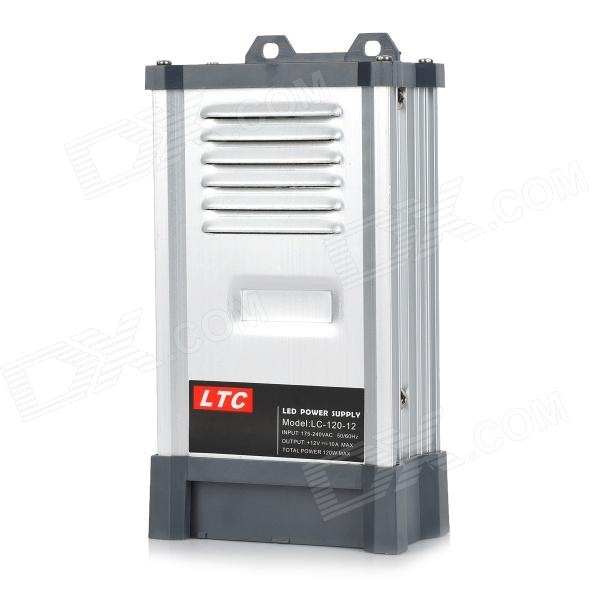 LTC LC-120-12 Rainproof High Efficiency 175~240V to 12V 10A 120W Switch Power Supply - Grey + Silver ltc lc 12 250w energy efficient rain proof switching led power supply silver black 175 240v