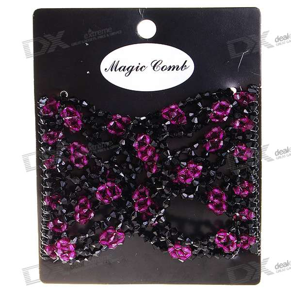 Stretchy Beaded Magic Hair Comb (Purple + Black)