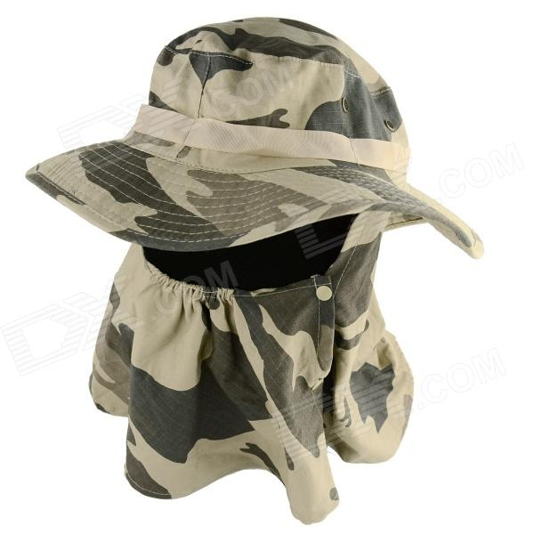 YUSHAN Outdoor UV Protection Cotton Large Brimmed Hat w/ Neck Protection / Mask-Desert - Camouflage summer can be folded anti uv sun hat sun protection for children to cover the sun with a large cap on the beach bike travel