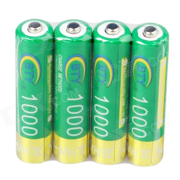 BTY CM01 High Quality BTY Rechargeable 950mAh 1.2V AAA Batteries - Green + Golden (4 PCS)