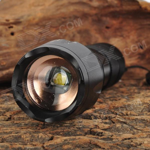 E17 CREE XM-L T6 900lm 5-Mode Memory White LED Zoomable Flashlight w/ Zooming Bike Mount- Black 2800lm 3 mode white bicycle headlamp w 4 x cree xm l t6 grey