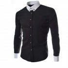 8678 Men's Fashion Solid Color Long-sleeve Shirt - Black (Size-XL)