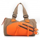 ManJiangHong Fashionable Women's Canvas Shoulder Diagonal Messenger - Brown + Orange
