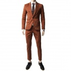 9059 Pure Slim Single Row One Button Suit - Brown (L)