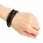 Artificial Leather + Wax Rope Handmade Multi-Layer Bracelet - Black