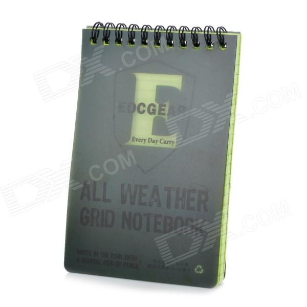 EDCGEAR Water Resistant Outdoor Travel Notepad Notebook - Army Green (11 x 16cm)